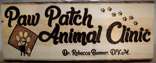 Paw Patch Animal Clinic Woodburned Sign by atreyu917