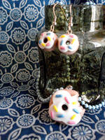 Donut Earrings and Necklace by VapidRose