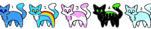 5 Cat Adoptables by dragonflyzMC
