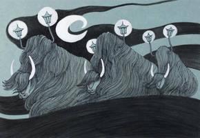 Moon Grunting Ox by yanadhyana