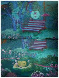 Emerald Garden (wall mural WIP II) by yanadhyana