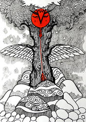 Inktober: Sleeping Tree by yanadhyana