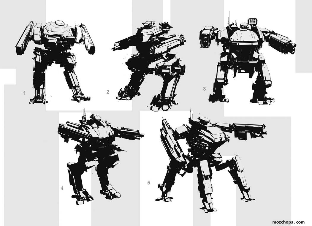 Assault mech sketches by m0zch0ps