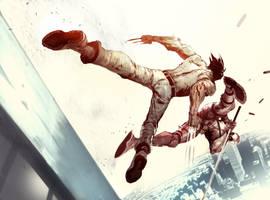 Deadcool vs Wolf by nefar007