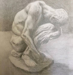 Crouching Adam pencil study by persicking