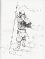 Medieval soldier sketch by JosephQiuArt