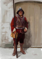 English Civil war pikeman sketch by JosephQiuArt