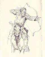 Horse archer sketch2 by JosephQiuArt