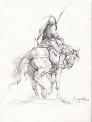 Horse warrior sketch by JosephQiuArt