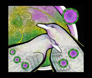 Two White Ravens as totems by Ravenari