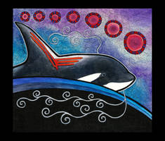 Orca as Totem - Red and Blue by Ravenari