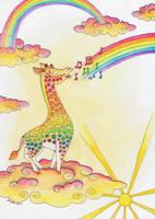 The Giraffe who Sang Rainbows into Being by Ravenari