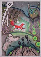 Comm - Fox Wolf Owl by Ravenari
