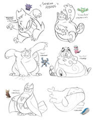Snorlax Hybrids by PookaDoodle