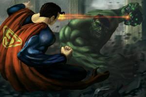 Superman Vs Hulk by Bamoon