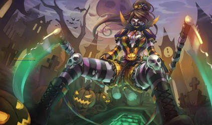 Halloween Akali by MonoriRogue