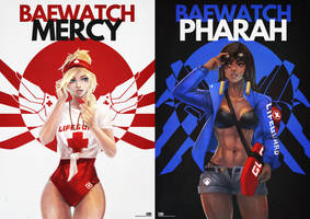 Baewatch Mercy/Pharah by MonoriRogue