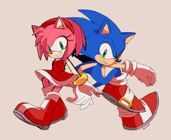 Sonic and Amy by panic-puppet