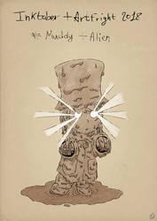 Inktober2018 + Artfright - Muddy + Alien by Miocarre
