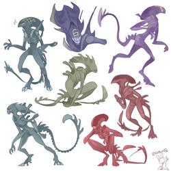 Xenomorph Doodles by 0ktavian