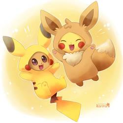 Pikachu and Eevee by Exceru-Karina