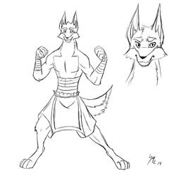 Martial artist dog sketch by dragonflyer2