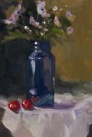 Blue Jar and Flowers by JoeyBee60