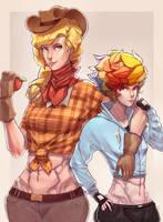 Applejack and Rainbow dash by Yunni-Universe