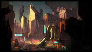 Sci-Fi City Sunset by UrbanMelon