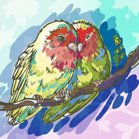 Colored Sketch Parrots Lovebirds by silvaterra