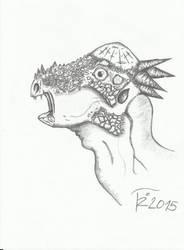 Pachicephalosaurus head by Terizinosaurus