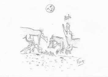 Ornitholestes by Terizinosaurus