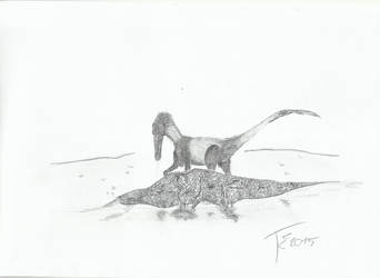 Buitreraptor vs Iguanodon baby by Terizinosaurus