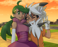 Ash and Mallow by pokemon1991j