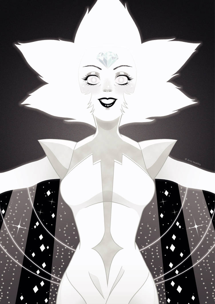 """Hello, starlight!"" It took me the entire day yesterday that I even went to bed at 3AM, but at least what I wanted to draw for quite a while is finally done. White Diamond from Steven Universe..."