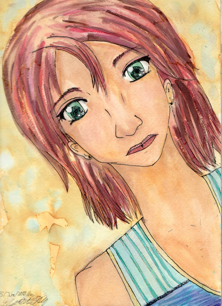 Summer Lady - watercolour practice by NekoMarik