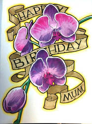 birthday card: orchid scroll by tnoone