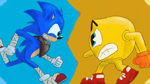 Cartoon Wars, Sonic vs Pac Man by AtomicNeon