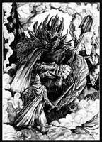 Fingolfin challenges Morgoth by Merlkir