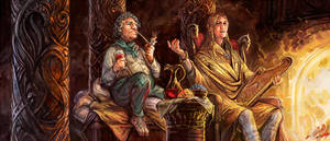 Bilbo and Lindir by Merlkir