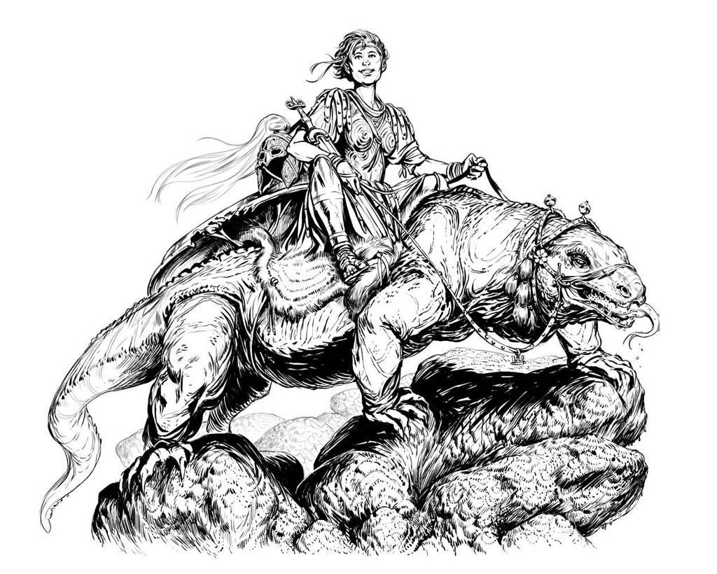 Warrior and Her Rock Lizard by Merlkir