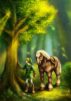 Link and Epona: Farewell (Legend of Zelda) by Fenrisfang