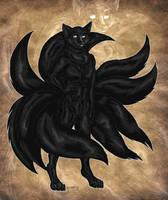 Black Ninetailed Kitsune by StarlightsMarti