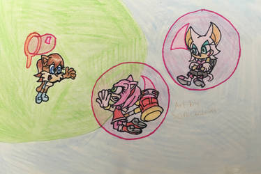 Sally, Amy and Rouge - Bubble trap by Sonic12Lexi