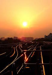 Sunrise At The Tracks by ashknight