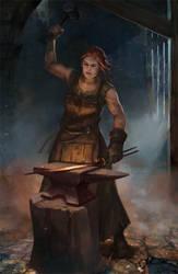 Female Blacksmith - hammering by City-of-Zeroes