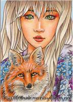 Animal Yokai - Kitsune (Fox) ACEO by MJWilliam