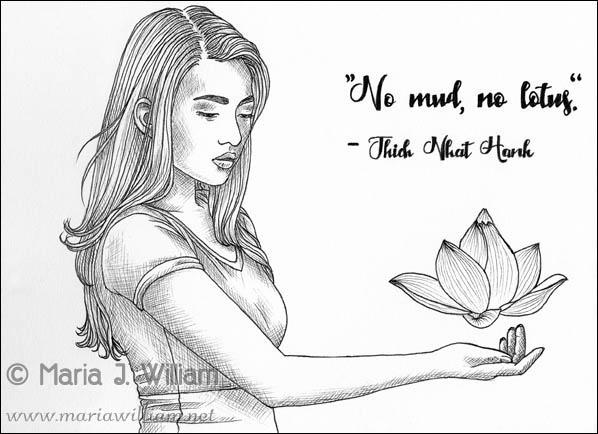 Inktober 2018 - No Mud No Lotus by MJWilliam