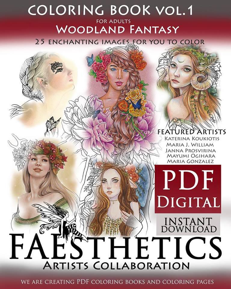 FAEsthetics Vol. 1 Woodland Fantasy Coloring Book by MJWilliam