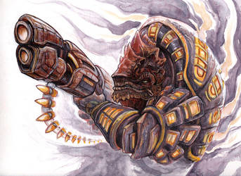 Grahl, Krogan Bodyguard by caramitten